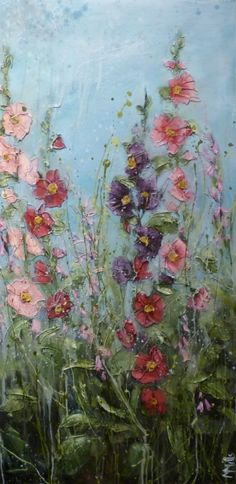 'Hollyhocks in mother's garden' by Marie Mills, 50cm x 100cm, Oil on linen, £750. www.lyndhurstgallery.co.uk