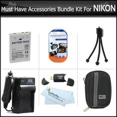 Must Have Accessories Bundle Kit For Nikon Coolpix S6300 S6200 S8200 AW100 S1200pj S6000 S6100 S8000 S8100 S9100 S9300 P300 P310 Digital Camera Includes Extended (1200maH) Replacement Nikon EN-EL12 Battery + AC/DC Charger + Hard Case + USB Reader +More