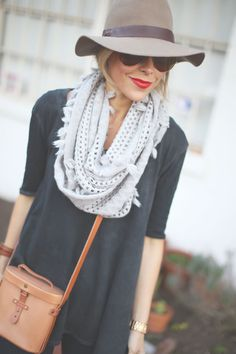 scarf + hat + red lips