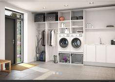 Browse laundry room ideas and decor inspiration. Discover designs for custom laundry rooms and closets, including utility room organization and storage solutions. Modern Laundry Rooms, Laundry Room Layouts, Farmhouse Laundry Room, Laundry Room Cabinets, Laundry Room Organization, Laundry Room Design, Basement Laundry, Room Interior, Interior Design Living Room
