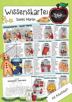 Wissenskartei + Arbeitsheft - Sankt Martin (kostenpflichtiger Download) Religion, Faith, Knowledge, Patron Robe, Index Cards, Christian, Teaching Materials, Childhood