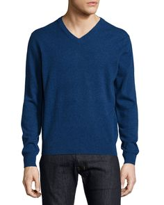 Cashmere V-Neck Sweater, Navy, Size: XX-LARGE - Neiman Marcus