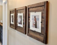 DIY Rustic Wood Frames, Reclaimed Wood Frame, Set of 5 x 7 Picture Frame with Mat, 8 x 10 picture Picture On Wood, Rustic Wood, Diy Picture Frames, Decor, Rustic Diy, Diy Home Decor, Home Diy, Reclaimed Wood Picture Frames, Home Decor