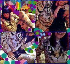 Serena Toxicat - Cat Sweatshirt, Betsey Johnson Blue Leopard Spotted Skirt - Meeeeeeey0w!!!!!!