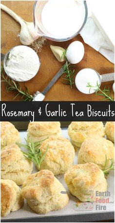 Delicious Rosemary and Garlic Biscuits. The perfect addition to any family meal, try these homemade biscuits tonight! via /earthfoodfire/ Tea Biscuits, Homemade Biscuits, Homemade Breads, Real Food Recipes, Vegan Recipes, Savoury Recipes, Delicious Recipes, Bread Recipes, Cooking Recipes