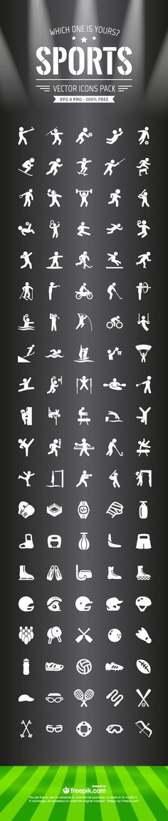 100 free Sports icons SVG and PNG set (963 KB) | creativenerds.co.uk