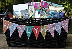 honeymoon gift baskets..Love the banner!