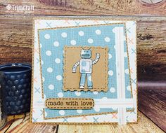 This stamped robot card was made with love and the free Trimcraft Printable Papers