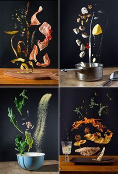 Food photography   Freezing motion   floating recipes by pavel becker
