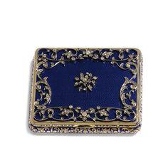 A DIAMOND-SET GOLD AND ENAMEL BOX struck only: 18K, probably Hanau, third quarter of the 19th century.
