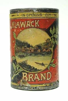 Salmon can from the first cannery in Alaska, in Klawock, on Prince of Wales Island. Hand soldered and labeled, ca. North Pacific Trading and Packing Co. Vintage Tins, Vintage Labels, Tin Containers, Vintage Fishing, Stamp Collecting, Alaska, Crates, Salmon, Enamel Ware