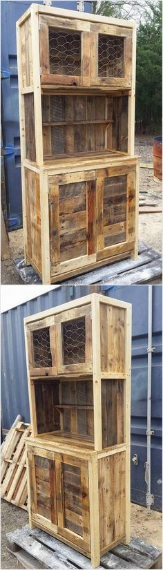 In this idea of the rustic wood pallet cabinet you can view the excess of the drawers and cabinets that are used in it. It is a form of the long giant cupboard that is much design in the old fashion wood pallet designs. You can even ideally make it place in your store rooms.