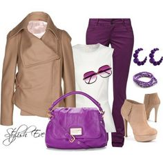 i like the color combination of this. i like booties like this but prefer a lower heel. nude pumps maybe could go with this   i love the dark and bright purples incorporated together. ... Purple Winter 2013 Outfits for Women by Stylish Eve
