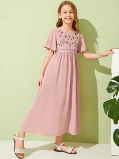 Girl's Dresses, Shop Dresses for Older Girls Online A Line Long Dress, Kids Long Dress, Types Of Sleeves, Dresses With Sleeves, Long Dresses, Box Pleated Dress, Houndstooth Dress, Little Girl Dresses, Girls Dresses Size 8
