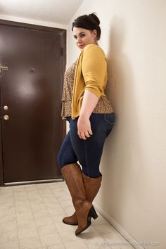 Skinny jeans, boots, and cardi #plus #size #fashion http://alittlelessnaked.tumblr.com