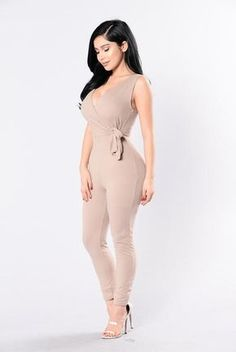 Available in Navy and Mocha Jumpsuit Side Tie Deep V in Front and Back Skinny Leg Made in USA Polyester Spandex Hot Outfits, Cute Summer Outfits, Girl Outfits, Fashion Outfits, Rompers Women, Jumpsuits For Women, One Piece Outfit, Cheap Dresses, Skinny Legs