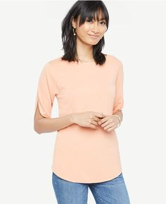 Ann Taylor - Petite - Easy Slit Sleeve Tee in canyon sunset orange | starting in size XXS petite | a breezy relaxed fit tshirt with short side-slit sleeves and a jewel neck.