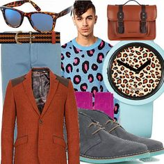 Pink and orange leopard | Men's Outfit | ASOS Fashion Finder (made by me)
