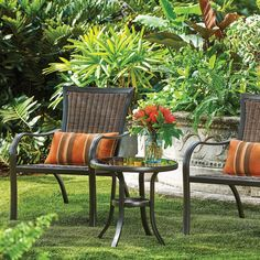This resin wicker patio set features 2 outdoor patio chairs, 2 lumbar pillows, and an outdoor side table. Ideal for small patios and other outdoor living spaces where space is at a premium. Outdoor Folding Chairs, Outdoor Side Table, Patio Chairs, Patio Dining, Folding Furniture, Balcony Furniture, Outdoor Furniture Sets, Outdoor Decor, Apartment Porch