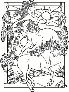 Welcome to Dover Publications  Creative Haven Wild Horses Stained Glass Coloring Book