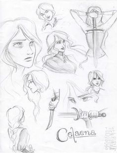 Tumblr - throne of glass - Celaena drawings - I did not draw these, but i love them!