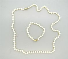 14k Gold Pearl Bracelet Necklace Set