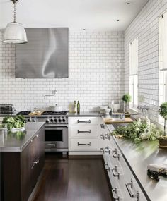 wood subway tile stainless modern kitchen  Japanese Trash masculine design obsession inspiration