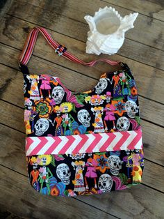 Day of the Dead Beach Bag, Day of the Dead Large Tote, Black and Pink Beach Bag, Skull Beach Bag, Skull Bag by MadeByMandyDesigns on Etsy