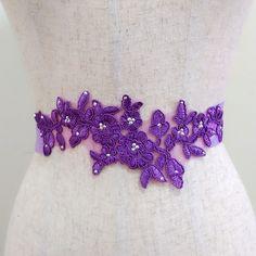 Rhinestone plum purple floral sash, Lace sash belt, Bridal sash, Wedding gown sash, Jeweled sash, Beaded sash, Crystal sash, Dress sash belt