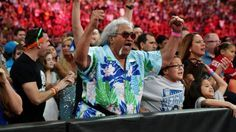A Proud Papa! Sika Anoa'i with his grandkids and daughter cheering on his son Joe Anoa'i aka Roman Reigns @ WrestleMania 31