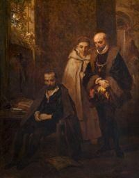 Montaigne visitant le Tasse au monastère de Saint Just By Louis Gallait
