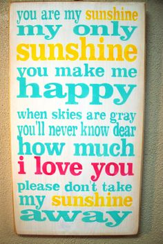 YOU are MY SUNSHINE -  Hand-painted on wood - Typography - Subway art  - Turquoise,  yellow,  pink. $34.00, via Etsy.