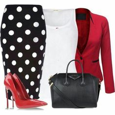 Black and white polka dot skirt red blazer white top date night outfit office outfit Mode Outfits, Fashion Outfits, Womens Fashion, Fashion Trends, Business Outfits, Business Attire, Work Fashion, Fashion Looks, Jw Fashion
