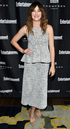 TIFF 2016 Best Dressed on the Red Carpet - Kathryn Hahn in a gray Theoru peplum midi dress