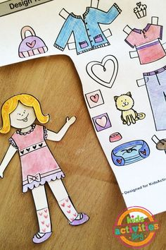 Get creative and decorate your own Valentines themed pretend play with this Design Your Own paper doll printable set!