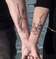 Hummingbird Couple Tattoo by Aenea Tattoo