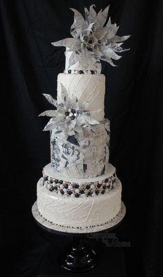 Contemporary newspaper print wedding cake, won silver at Cake International last weekend
