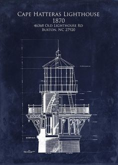 Nautical blueprint google search faros pinterest faro cape hatteras lighthouse blueprint art print lighthouse tower blueprint greeting card for sale by sara malvernweather Images
