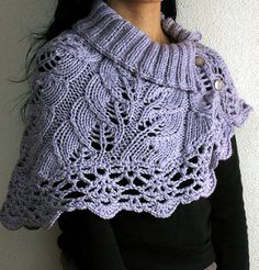 Really pretty retro style cape. Quick to knit in thick yarn and decorated with leaf pattern. Free instructions.