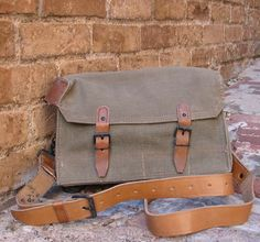 37869cc20e52 Vintage French Military Canvas and Leather Messenger Bag With Compartments.   38.00