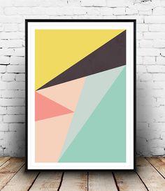 Abstracte Print geometrische Print Wall Art Print van door Wallzilla