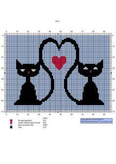amour - love - chat - coeur -  point de croix - cross stitch - Blog : http://broderiemimie44.canalblog.com/