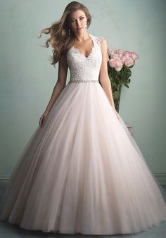 Love the pink and the halter neckline. Allure Bridal.