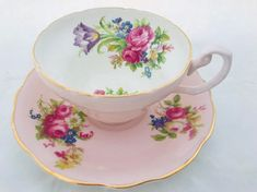 Pretty Pink Foley Cup & Saucer with a Variety of Colorful Flowers & Gilt Trim, Circa Vintage English Bone China Cup & Saucer. Tea Cup Set, My Cup Of Tea, Cup And Saucer Set, Tea Cup Saucer, Tea Sets, Pink Flowers, Colorful Flowers, Purple Roses, Cute Tea Cups