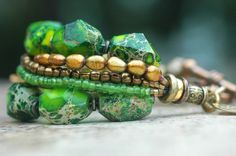Bracelet | Green | Bronze | Gold | Multi-Strand | Exotic | Statement | XO Gallery