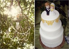 A simple, elegant cake with an adorable topper.
