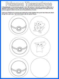 One For The Books: Pokemon Thaumatrope - Programming: Passive - Origami Pokemon Craft, Pokemon Party, Pokemon Birthday, Pokemon Go, 7th Birthday, Girl Scout Activities, Craft Activities For Kids, Science For Kids, Baby Activities