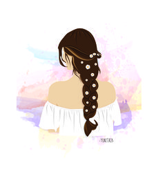 A woman with pretty hair, by me. Using Adobe illustrator #illustrator #drawing #ilustrationhair #illustratorfashion #girl #hair #flowers #adobeillustrator #art #artwork