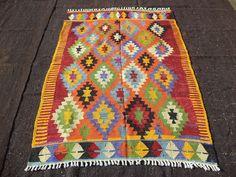 "Turkish Kilim Rug,4,4""x5,11"" Feet 132x180 Cm Zigzag Patten Colorful Turkish Kilim Rug,Handmade Vintage Anatolian Kilim Rug."