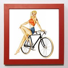 Retro Vintage pin up girl with fixed gear bicycle. by GingersnapPress, $10.00 #fixie #cycling #bikeart